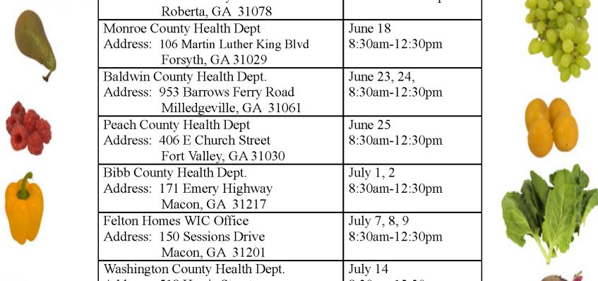 Famer's Market Locations 2015